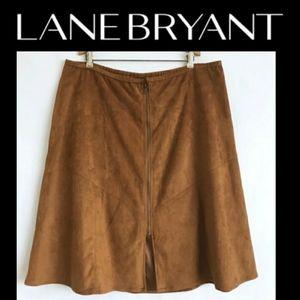 🆕️ Lane Bryant   Faux Suede Front Zipper Skirt
